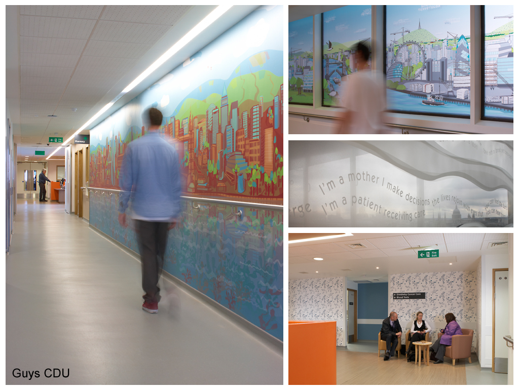 Art in hospital. Artist Heather Barnett and poet Will Holloway were commissioned by Willis Newson to produce artworks for the new Cancer Day Unit at Guy's Hospital.