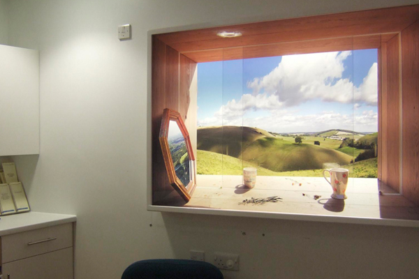 'Utopia Looking North,' lightbox by Heinrich & Palmer in the Department of Critical Care. Gloucestershire Royal Hospital. Photo by Willis Newson.