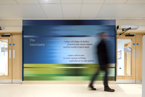 The Sanctuary entrance artwork at Bristol Royal Infirmary