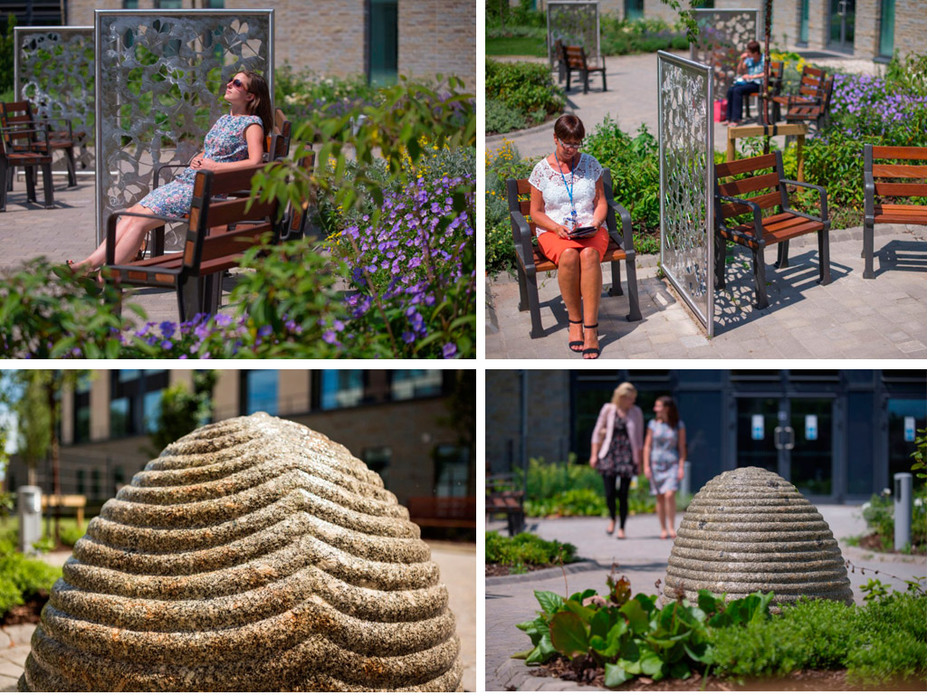Art in hospitals, Jacqui Poncelet Ginkgo Sculptural Screens. Bottom: Peter Randall-Page Source stone water feature